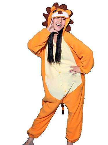 Warmes Unisex-Karnevals-Kostüm für Kinder, Einhorn Eule Zebra Giraffe Kuh, für Halloween Fest Party, als Pyjama, Tier-Kigurumi-Kostüm für Zoo-Cosplay, Einteiler - Medium - Leone Arancione