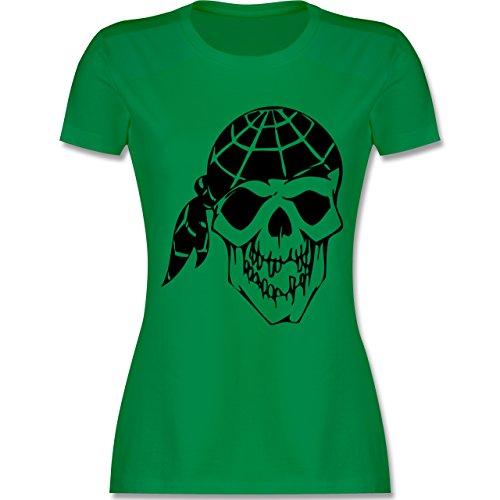Piraten & Totenkopf - Totenkopf - tailliertes Premium T-Shirt mit Rundhalsausschnitt für Damen Grün