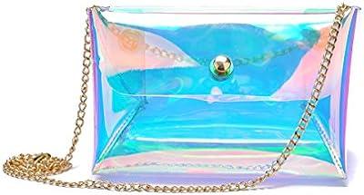 zarapack Mujer Multi Color Holograma transparente Messenger Bag Bolso Bolsa de hombro
