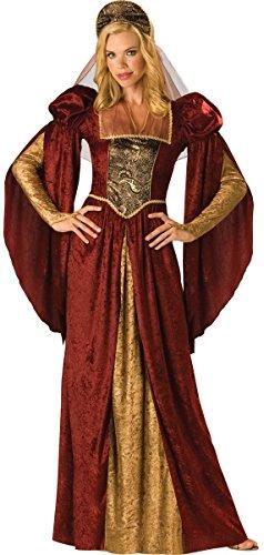 Da donna rosso stile medievale Marian Rinascimento costume UK 8-18
