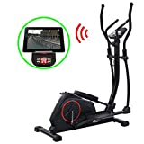 Festnight Programmierbarer | Crosstrainer | Fitness Heimtrainer Ergometer | Stepper Ellipsentrainer | XL 18 kg Drehmasse | Smartphone App | LCD-Display | Bluetooth-Funktion