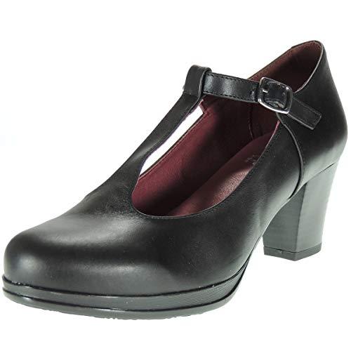 Abril 10527 Zapato Plataforma y Tacón Ancho de 6,5 CM con Hebilla para Mujer Negro Talla 38