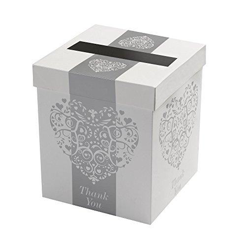 Neviti Vintage Romance Hochzeitsbriefbox, Weiß/Silber - Hochzeit Wünsche Karte Box