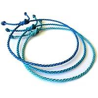 X3 Bracelets corde/fil Mix Bleu (Turquoise Azur Royal). Simple/Unisexe/Porte chance/Brésilien. Fins cordons souples fait et tressés main avec du fil ciré. Ajustable avec nœud coulissant. Réf.#X3A
