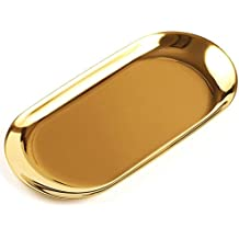 fcad2356f431 Cikuso Bandeja de Almacenamiento de Metal Plato de Fruta Punteado Oval Oro  Espejo Bandeja de exhibicion
