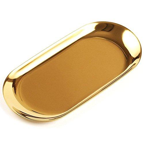 Cikuso Bandeja de Almacenamiento de Metal Plato de Fruta Punteado Oval Oro Espejo Bandeja de exhibicion...