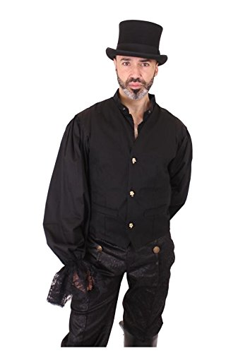 Mens Stretch Cotton Waistcoat With 3 Brass Skull Buttons With Diamante Eyes. Sizes S - 2XL Schwarz