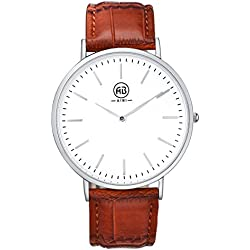 AIBI Gent's Men's Waterproof Slim Silver Case Stainless Steel Quartz Watch