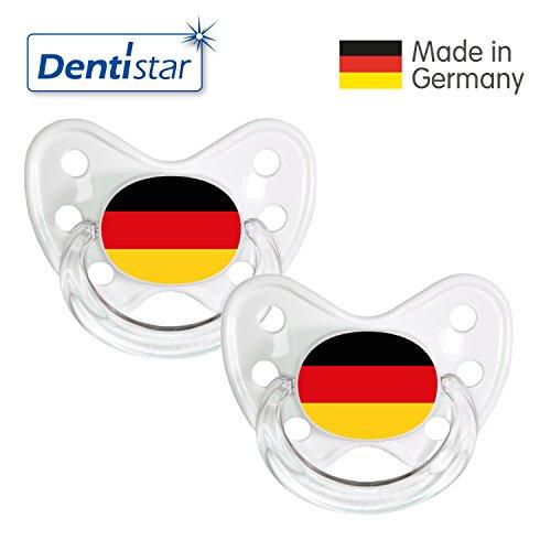 Preisvergleich Produktbild Dentistar® Silikon Schnuller 2er Set inkl. 2 Schutzkappen - Nuckel Größe 3, ab 14 Monate - Fussball Fan Kollektion – Deutschland Fahne, weiß