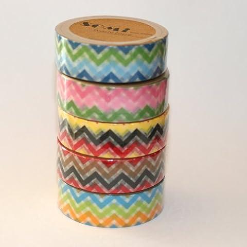 Diagonale Washi tape Zig Zag Lot de 5 rouleaux de ruban adhésif