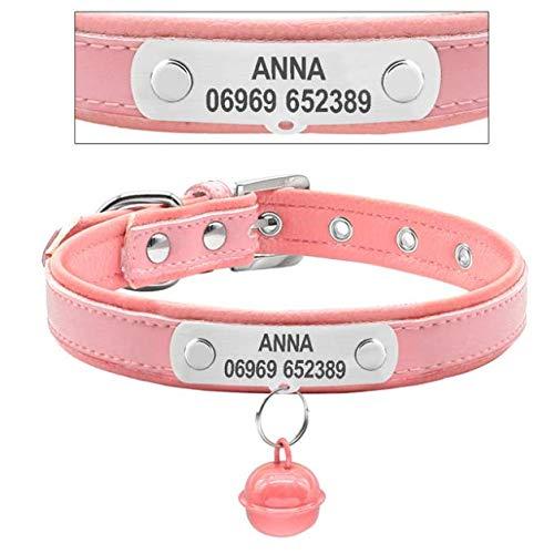 (WHFDRHCWXQ Haustierhalsband Personalisierte Welpen Hundehalsband Custome Gravierte Katze Pet Name Id Halsbänder Small Medium XS SM, S)