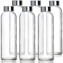 Botellas de Agua de Cristal - Set de 6 Botellas Reutilizables de Vidrio sin BPA con