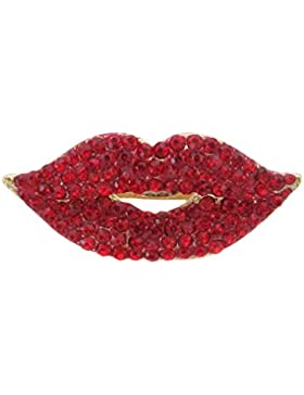 Brosche Boutique Brosche vergoldet helle Rot Kristall Lippen/Muttertag Geschenk