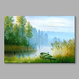 Öl Malerei Bild /Landschaft Grüne Hügel Und Wasser Auf Leinwand Mit Keilrahmen Grösse 60 * 90 cm,