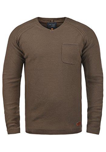 Blend Chuck Herren Strickpullover Feinstrick Pullover Mit V-Ausschnitt Und Brusttasche Aus 100% Baumwolle, Größe:XL, Farbe:Coffee Brown (71507) -