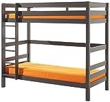 VIPACK PISBOL15 Etagen-Hochbett Pino, Maße 210 x 182 x 105 cm, Liegefläche 90 x 200 cm, Kiefer massiv taupe, ein warmes dunkel grau lackiert