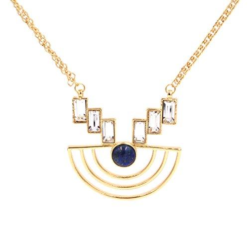 Small Island 'Half Moon' gold Ton Geometrische Halskette mit Kristall und Lapislazuli Halbedelstein Edelstein (in Organza Tasche). -