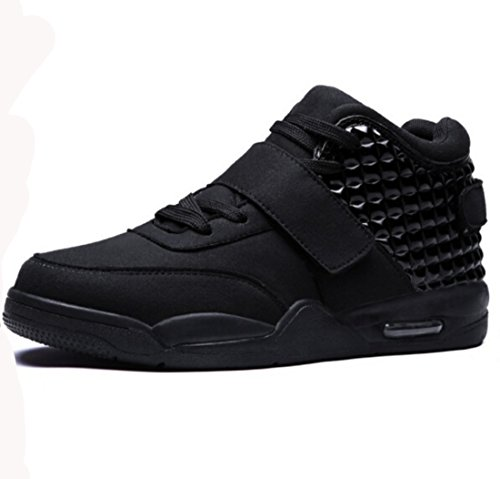 Men's Breathable High Top Leather Walking Shoes Black