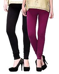 2Day Womens Cotton Churidaar Legging Wine/Black (Pack Of 2)