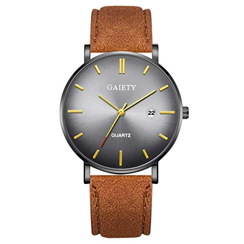 Lazzgirl Mode einfach einfach lässig Kalender Business Leder mit Armband Herrenuhr(M,PU + Legierung)