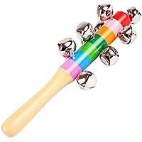 Leisial Campanas Juguetes Sonido Madera de Niños Arco Iris Campanas de Mano Instrumento Musical del Campanilla Juguete Sonido Sonajero Educativa para Bebé 1pc