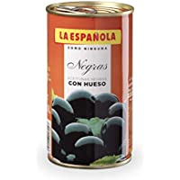 La Española - Aceituna Negra Con Hueso 185 gr (Negra Con Hueso) [Pack 12 uds.]