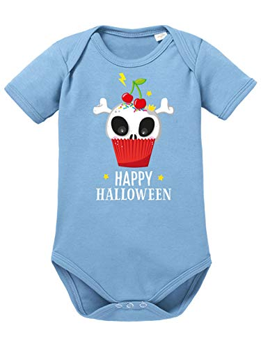 (clothinx Baby Body Bio Halloween Cupcake Himmelblau Größe 74-80)