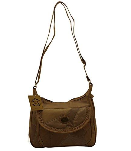 Damenhandtasche Shopper Bag Tasche Patchwork Neu 2098 (Mocca) Beige