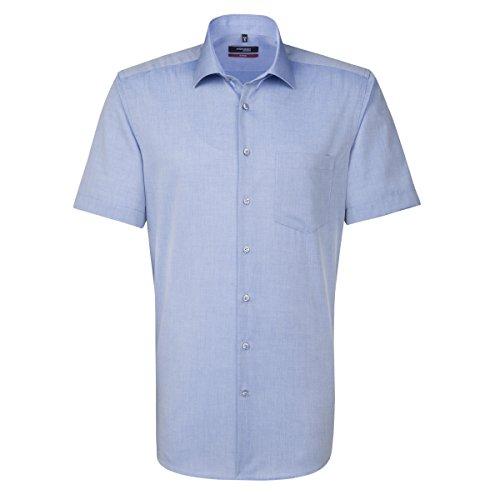 SEIDENSTICKER Herren Hemd Modern 1/2-Arm Bügelfrei Uni / Uniähnlich City-Hemd Kent-Kragen Ohne Manschette dunkelblau (0016)