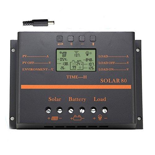 80A Solarladeregler, 12V / 24V Auto 960W / 1920W Batterieladeregler mit LCD-Anzeige 5V USB-Ladegerät für Mobilgeräte Verbesserter Kühlkörper (80A)