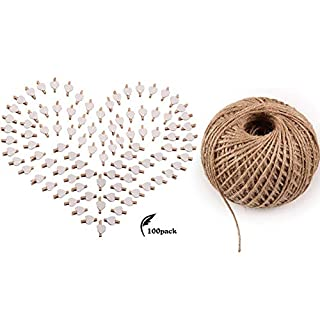 Pure Natural Jute Twine |Arts Crafts Gift Decor |100 Pcs X3 Cm Love Heart Wood Clip & 100 M Hemp Rope Pins For Clothes Pictures Strings Clothes Pins Art Craft |Photo Hanging Clips Clothespins
