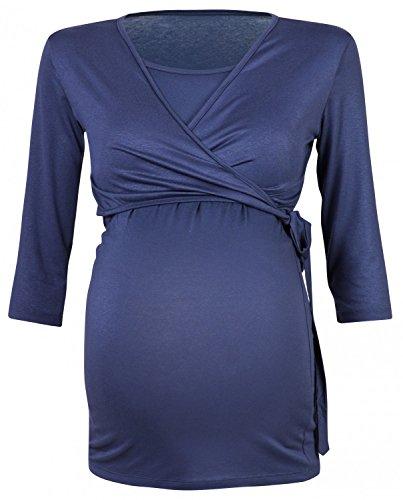 Happy Mama Damen 2in1 Umstands Stillshirt Bolero Stilltop Tunika Stillbluse 458p Blau Grau