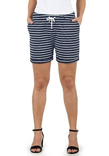 DESIRES Lena Damen Sweatshorts Bermuda Shorts Kurze Hose Mit Stretch-Material Und Streifen-Muster Regular Fit, Größe:M, Farbe:INS BL/WH (1991W)