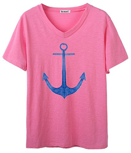 So'each Women's Ship's Anchor Graphic V-Neck Tee T-shirt Ladies Casual Top Rosa