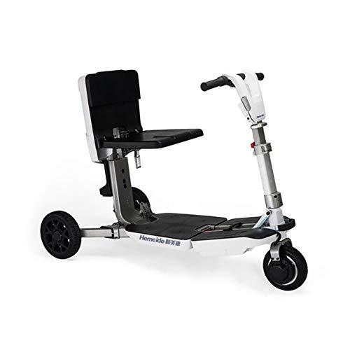 BMDHA Tragbarer Mobilitätsroller für ältere/behinderte Schnell Falten leichte Reise Luftfahrtmagnesiumlegierungsmaterial Ausdauer 35 km,Red