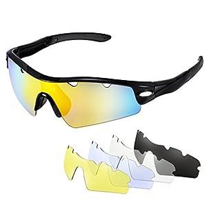 Gafas de sol Ciclismo Polarizadas de OMorc, Gafas Deportivas Polarizadas con 5 Lentes (1 lentes polarizada y 4 lentes común), 100% UV 400 Protection, para Hombres, Mujeres, Bicicleta, Jogging, Conducir, Pesca, Carreras, Escalada, Esquí - Negro