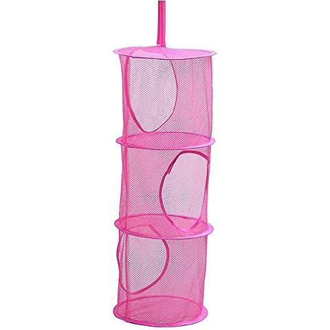 Plegable 3compartimentos balcón baño para colgar organizador de cesta para la ropa sucia de malla sujetador ropa interior calcetines zapatos desechos, tres capa armario baño cocina lavandería Kid 's caja de juguete y de almacenamiento jaula plegable rosa (30