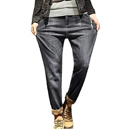 Herren Jeans Lässige Herbst Winter Mode Chino Stretch Freitzeithose Füße Harlan Alphabet Jeans(h_Grau,29)