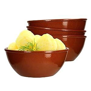 MamboCat 4er-Set Servier-Schale Ø 18cm Ton-Geschirr braun glasiert 1L Suppen-Schüssel für Salat Menü-Beilagen Snacks & Antipasti mediterrane Küche Gastro