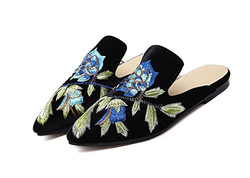GLTER Donne Mules Scarpe 2017 nuovo e europea American Fashion Flowers ricamo Mezza trascinamento Heels Pompe per Scarpette Scarpe Black
