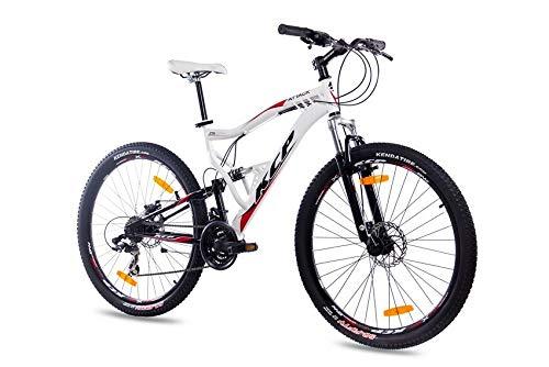 KCP 27,5 Zoll Mountainbike Fahrrad - MTB Attack Weiss schwarz - Vollfederung Mountain Bike Unisex für Herren, Damen oder Jungen, MTB Fully mit 21 Gang Shimano Schaltung und Zwei Scheibenbremsen