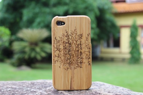 SunSmart Unique main en bambou naturel Hard Cover Case en bois pour iPhone 4 4S (arbre) arbre