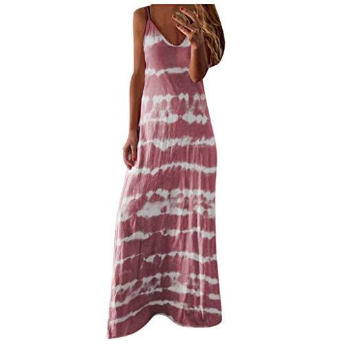 routinfly Damen Kleider Blumen Cocktailkleid Abendkleid,Neuer Rock Sexy gestreiftes Kleid mit Strapsen Sexy V-Ausschnitt Riemchen gestreift gedruckt lässig Lange Maxi-Kleid S-3XL