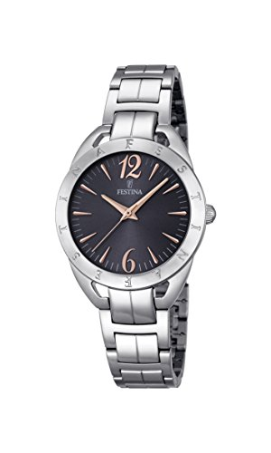 Festina MADEMOISELLE Women's Quartz Watch with Grey Dial Analogue Display and Silver Stainless Steel Bracelet F16932/2