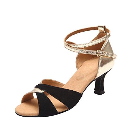 Miyoopark ,  Damen Tanzschuhe Black/Gold-5.5cm Heel