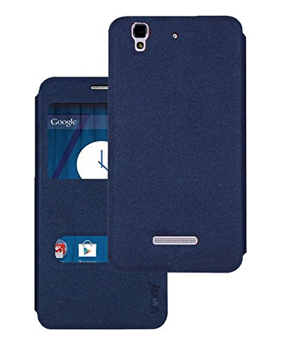 Heartly GoldSand Sparkle Luxury PU Leather Window Flip Stand Back Case Cover For Micromax Yu Yureka / Yureka Plus Cyanogenmod - Power Blue