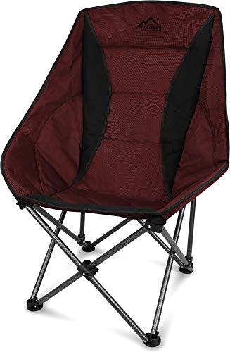 normani XXL Campingsessel Camping-Comfort-Freizeitstuhl gepolsterter Faltstuhl Moon-Chair mit Tragetasche in unterschiedlichen Farben - bis 150 Kg belastbar Farbe Rot