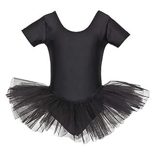 tanzmuster Kinder Ballett Trikot Ballettanzug Alina mit Tutu-Röckchen - Balletttutu aus 3-lagigem Tüll. Zauberhaftes Ballettkleid für Mädchen in schwarz, Größe:104/110