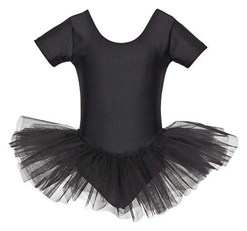 tanzmuster Kinder Ballett Trikot Ballettanzug Alina mit Tutu-Röckchen - Balletttutu aus 3-lagigem Tüll. Zauberhaftes Ballettkleid für Mädchen in schwarz, ()