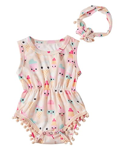 RAISEVERN Neugeborene Kleidung Overall mit Stirnband Cute Baby Girl Rompersuits Outfit Ice Cream 0-6 Monate